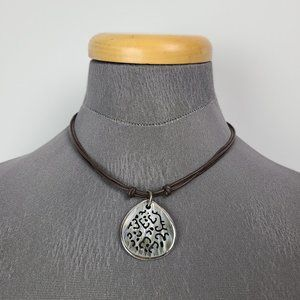 Silpada Mother Of Pearl Brown Leather Necklace